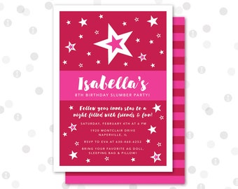 CUSTOM - 5x7 Invitation - American Doll Printable Party Collection by InkoHaus - JPEG PDF