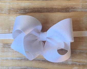 "4"" Southern Style White Boutique Bow Headband; White Bow; Baby Bow; Newborn Headband; Twisted Boutique Bow; Baptism Bow"