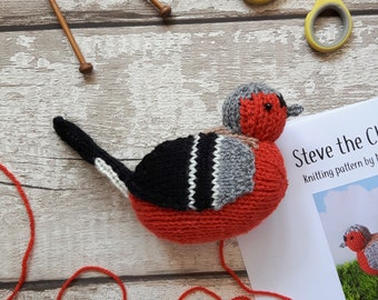 Steve the Chaffinch knitting pattern - cute bird knitting pattern - birb