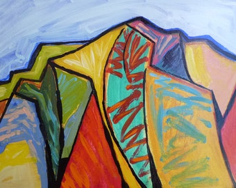 Mount Sopris 10 x 12 x 2 original abstract landscape painting,  acrylic painting of mount sopris, colorado painting, abstract painting
