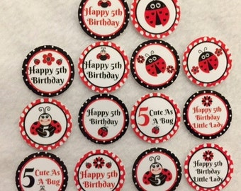 Set of 50/100/150/200 Personalized Ladybug 5th Birthday Party  1 Inch Confetti Circles