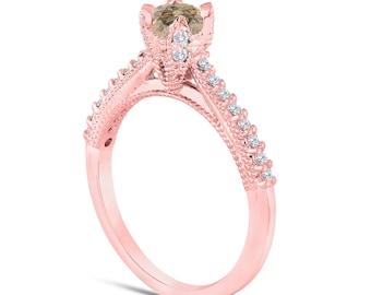 Fancy Champagne Brown Diamond Engagement Ring 0.50 Carat 14K Rose Gold Handmade Certified