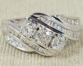 Radiant Sparkling 14K White Gold 0.85ctw Round & Baguette Diamond Accented Three Stone Past Present Future Statement Right Hand Ring
