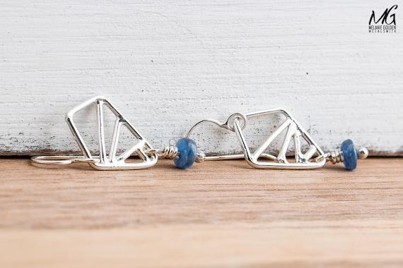 Silver Geometrical Earrings in Sterling Silver with Blue Kyanite Gemstones