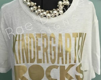 Teacher Tee Kindergarten Rocks...First Grade Second Third...Cross...Christian