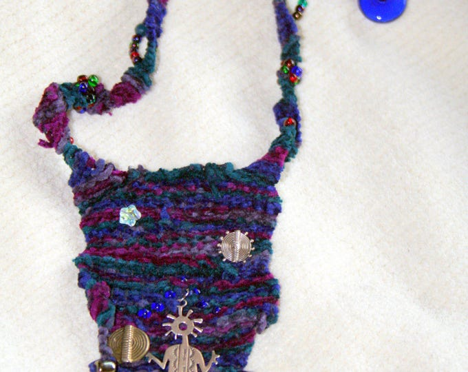 Water Spirit Single Needle Hand Woven Fiber Necklace with Sterling Charms
