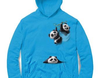 Panda, Grizzly and Polar Bear Waving at Parachute Koala – Men, Women, Kids French Terry Sweat Shirt, Graphic Pullover Sweater, Sweatshirt