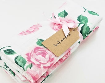 Set of 2 Kitchen/Dining Towels - Pink Rose - Ready to Ship