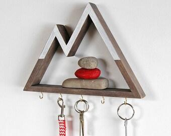 Snowy Peaks Mountain Key or Jewelry Rack and Entryway Organizer, 1.5 Inch Shelf