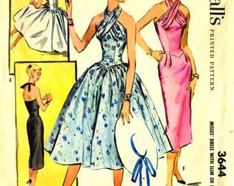 McCall's 3644 TWISTED HALTER BODICE 1950s Dress Size 12 ©1956