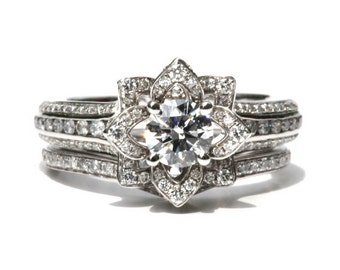 Wedding SET - Gorgeous UNIQUE Flower Rose Diamond Engagement Ring and Wedding band set - 2.55 carats - 14K white gold - custom made - fL01-S