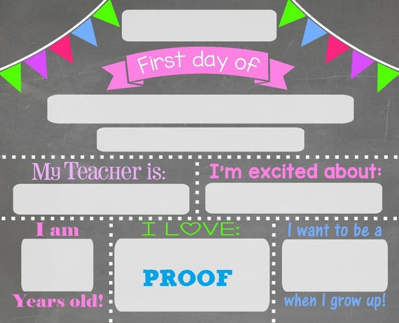 First day of school chalkboard sign Chalkboard sign print