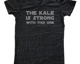 Grünkohl Womens-T-Shirt - Feinschmecker vegetarische vegane lustige Kale T Shirt - Womens Tri-Blend-dunkelgrau - Hand gedruckte Größen S, M, L, XL