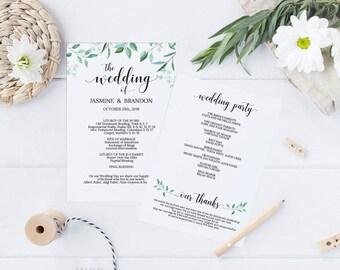 Printable Wedding Program, Wedding Program Template, Greenery Wedding, Ceremony Printable Template, Editable PDF Instant Download #E031