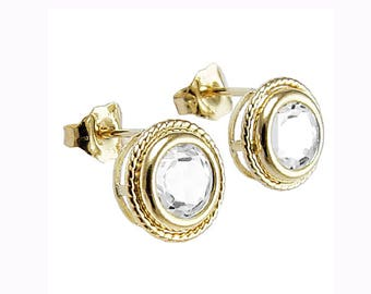 14k Yellow Gold With Topaz Stud Earrings Insured E1071