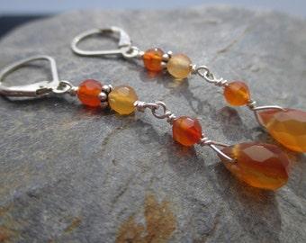 Carnelian Dangle Earring, Handmade Gemstone Earring, Fall colors Earring, Fire Orange Dangle earring, Carnelian Earring