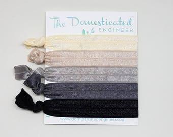 Slate Hair Tie Set, Elastic Hair ties, Hair Ties, Ivory Hair ties, Neutrals, Grey Hair ties, Hair Tie Sets, Yoga Hair ties, Yogi Gifts