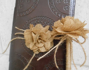 Wedding Wishes Book / Leather Wedding Guest Book /  Guest Book / Rustic Burlap Flower Guest Book / Sign In Book / Guest Book And Pen Set