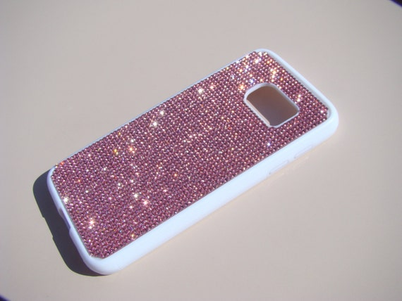 Galaxy S7 Case Pink Diamond Crystals on White Rubber Case. Velvet/Silk Pouch Bag Included, Genuine Rangsee Crystal Cases.