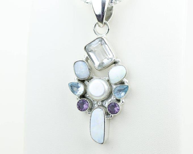 Australian Opal Amethyst Pearl Blue Topaz 925 S0LID Sterling Silver Pendant + 4MM Snake Chain & Worldwide Shipping p4025