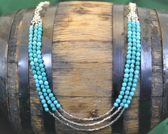 Turquoise Necklace – Sterling Silver – Chainmaille – Multi Strand - Birthday Gift – Anniversary Gift – Blue, Silver