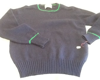 Vintage SOCIETY Women's Sweater Navy Blue with Green Long Sleeved