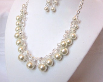 Pearl and Crystal Cluster Necklace - Wonderful White Pearl and Crystal Necklace - Chunky, Choker, Bib, Necklace, Wedding, Bridal, Bridesmaid