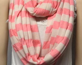 Pink & Cream  Stripes  Infinity Scarf Super Soft Knit