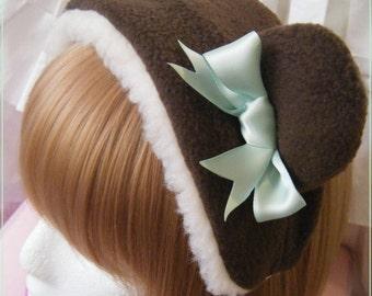 Chocolate mint plush sweet bear ears/bonnet