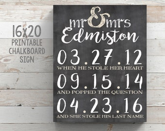16x20 Printable Chalkboard Sign Personalized Wedding Sign Engagement Gift Wedding Gift Bridal Shower Gift Anniversary Gift Special Date Sign