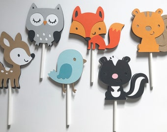 """12 Woodland Animal Cupcake Toppers 
