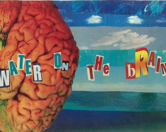Water on the Brain Pop Art Collage, Fine Art Digital Print. Collage Print, Art Print, Pop Art, Photo Collage, Wall Art, Collage Art