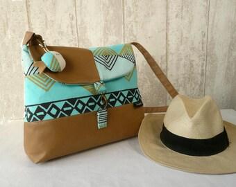 Ethnic crossbody bag, turquoise messenger bag