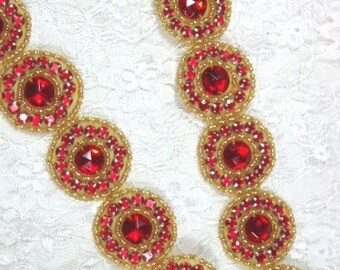 "0379 Red Gold Round Jewel Rhinestone Beaded Trim 1.25""  ( Use for Sewing and Crafts )"