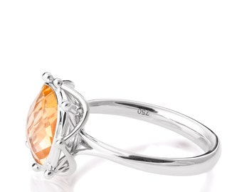 Art Deco Engagement Ring, Unique engagement ring,Statement ring, Two tone Ring, Citrine Ring, White Gold ring, Large stone ring, R016