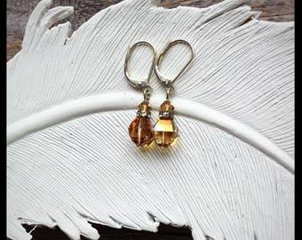 Minimal Bronze Gold Silver Earrings