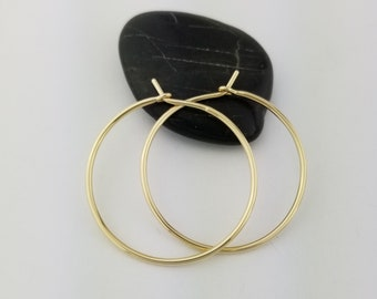 Extra Thick 14k Gold Hoop Earrings, 16 Gauge, Solid Gold Hoop Earrings, Anniversary Gift Wife Jewelry, Mom Gift, Mothers Day, Thick Round