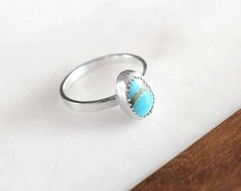Turquoise Ring - Silver Ring, Turquoise Silver Ring, Sterling Silver Ring, Royston Turquoise Ring, Stacking Ring, Boho Ring, Handmade Ring