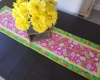 Easter Table Runner, Easter Egg Table Runner, Spring Table Runner, Quilted Table Runner, Centerpiece, Tablescape, Home Decor, Happy Easter