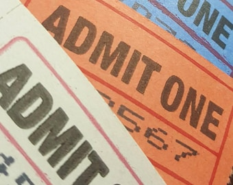 20 Admit One Tickets in Blue, Red, or White