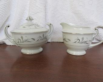 Vintage Platinum Garland sugar bowl and creamer set 1960's made in Japan serveware birthday Christmas gift