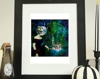 Victorian Gothic Decor - Skeleton Art - Raven Art - Halloween Digital - Swan Art - Gothic Artwork - Victorian Surreal Art - Red Dress Art