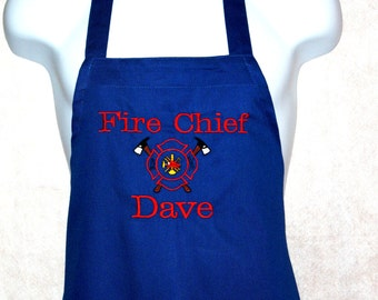 Fire Chief Apron, Firefighters Logo, Personalized With Name, No Shipping Charges, Ready To Ship TODAY, AGFT 319