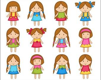 Cute Girls Clip Art, Kids Digital Clip Art, Brown Hair Girls Digital Clipart Pack, Instant Download - YDC059