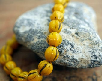 Glass Beads Melon Beads 6mm Bead Mustard Yellow Beads (25)