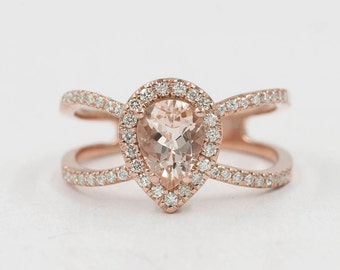 Morganite Engagement Ring, 0.42ct High Quality Diamonds, Morganite Diamond Engagement, 8x6 AAA Pear Shaped Morganite, F G-VS Quality Diamond