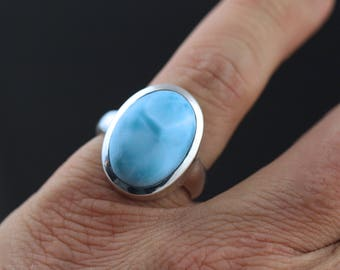 Authentic Blue Larimar Ring, Size 8, Solid Sterling Silver Bezel Set, Thick Silver Setting, Dominican Republic Stone LLR19