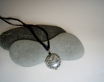 Patterned Gray Crazy Lace Agate Coin Stone pendant Strung on Hand-Dyed Black Silk Cord