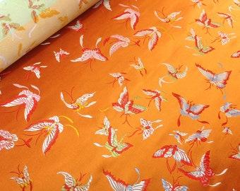 1.20m Silk Brocade Exotic Silks Orange Butterflies