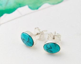 Turquoise Earrings,Turquoise Studs,Stud Earrings,Bridesmaid Earrings,Boho Earrings,Bridal Earrings,Everyday Earrings,Gemstone Earrings JE121